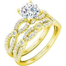 1.01 ct Round Diamond Engagement Ring & Band Bridal Set 14k Yellow Gold 1.63 tcw