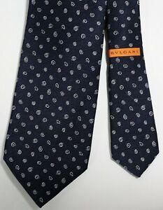 Bvlgari Bulgari Daniele Pizzigow Midnight Blue Spiral 7 Fold Silk Tie