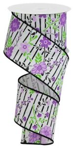 "Lavender Floral on Black Lined Wire Ribbon 2.5""(2 LENGTHS)*Easter*Spring*Summer*"