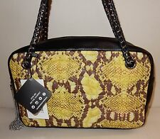 New Aimee Kestenberg Pebble Leather Rose Quilted Shoulder Bag Yellow Cobra