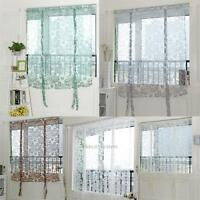 Window Voile Sheer Curtain Floral Tie Blinds Offset Point Multi Color Valances
