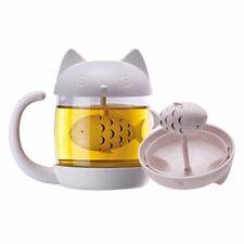 Colador de Filtro de peces gato Con Vidrio Taza Taza De Filtro Infusor De Té Regalo de oficina en el hogar