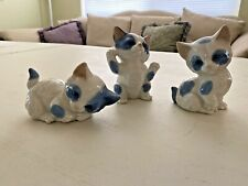 """Set of three blue & white cats, circa 1960, made in Japan Tallest is 4"""" Widest"""