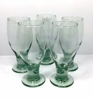 Set of 5 Vintage 90's Crate & Barrel Green Tinted 12oz Footed Iced Tea Glasses