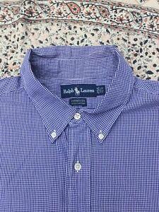 """RALPH LAUREN - Blue-White Check - Button Cuff - Shirt - 17.5"""" Collar - XL"""
