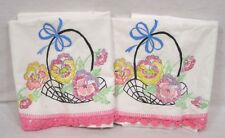 Pair Pillow Cases Basket of Pansies Unfinished Embroider & Stitch Crocheted Edge