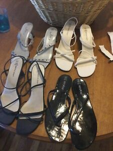 4 Pairs White Stag Strappy Heels Shoes Size 11 And 12 Need Sole Glue Repair