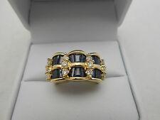 Gorgeous Designer EFFY 14k Yellow Gold Blue Sapphire & Diamond Ring Size 5