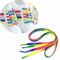 5Pair 110cm Flat Rainbow Shoelace Sports Shoe Laces Strings Strap Long Bootlaces