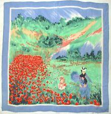 Artist CLAUDE MONET Impressionist ART Repro LOREDANO Green Blue Red Silk Scarf
