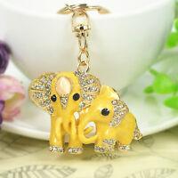New Mother & Baby Elephant Keyring Rhinestone Keyring Pendant Key Bag Chain Gift