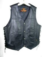 New Hot Leathers Black Leather Men's Motorcycle Biker Vest Size 3XL Jacket
