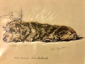 DACHSHUND ORIGINAL PRINT 1930'S DOG PRINT ARTIST LUCY DAWSON known As MAC