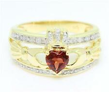Natural Claddagh Garnet & 20 Diamond 9K 9ct 375 Solid Gold Celtic Irish Ring