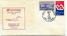 FFC 1981 First Flight United Chicago to Charlotte US Postal Service Nonstop