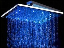 LED Brausedusche Duschbrause Regendusche eckig 300 mm massives Messing verchromt