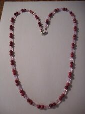 Pink lepidolite gemstone and twisted glass bead necklace