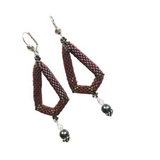 Handmade Beaded Earrings Red Dangle Statement Jewelry Sterling Silver Lever Back