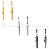 2pcs Men's Women's Stainless Steel Cross Tassel Chain Drop Huggie Hoop Earrings