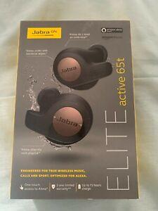 Jabra Elite Active 65t Earbud Wireless Headphones Black /Silver button