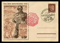 1942 Germany 3rd Reich Postcard Cover WWII Hitler Culture Funds Mulhausen Cancel