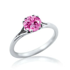 PINK CUT RINGS CHRISTMAS GIFT 925 STERLING SILVER 14K WHITE GOLD FN SOLITAIRE CZ