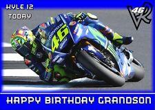personalised birthday card motoGP motorbike Valentino Rossi  name/age/relation