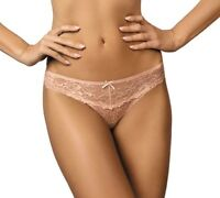 Damen Slip Mini-String Tanga mit Spitze transparent Dessous pink Gr.46