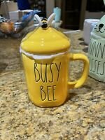Rae Dunn - BUSY BEE w/ Topper - YELLOW Ceramic Easter Coffee Mug