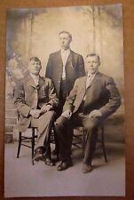 RPPC THREE HANDSOME YOUNG MEN SUITS Chair Shoes Antique Vintage Photo Postcard