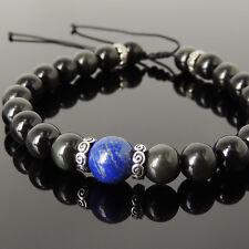 Men's Braided Bracelet Black Obsidian Lapis 925 Sterling Silver Spacers 1175M