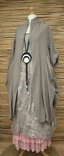 LAGENLOOK LINEN OVERSIZE AMAZING 2 PCS FLORAL DRESS+LONG JACKET***BEIGE***XL-XXL