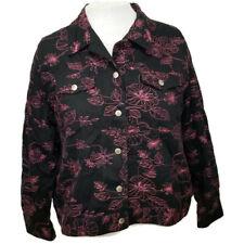 Silk Land Womens Denim Jacket Coat Blazer Size 2X Black Pink Floral Snap Plus