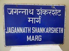 Jagannath Shankarsheth Marg Vintage Street Sign Porcelain Bombay Historical#F