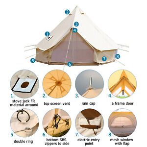 Bell Tent 3M Glamping Cotton Canvas Tipi Tent Awning Waterproof Beach Party Yurt
