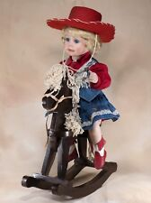 """Hamilton Collection """"Dakota"""" Cowgirl With Wood Horse Porcelain Doll 16"""" In Box"""