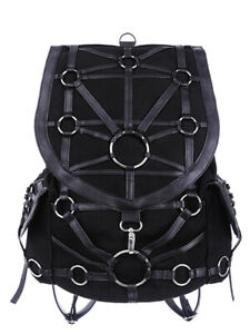 Restyle Gothic Black O-Ring Harness Denim Backpack