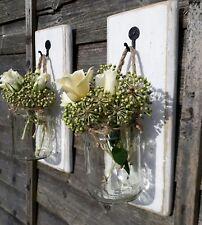 Pair of lovely white wooden Glass jar candle flower holder White Lanterns GIFT