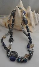 "NEW lucien piccard pearl and gemstone endless necklace 40"" lapiz-crystals-pearls"