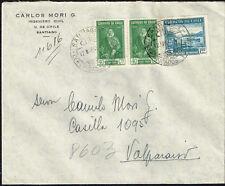 3131 CHILE REGISTERED COVER 1948 OSORNO VOLCANO SANTIAGO - VALPARAISO