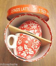 Vendo 2 TAZZE LATTE té caffé da coppia fiori rossi GLI INSEPARABILI DEL MATTINO