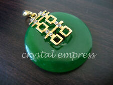 FENG SHUI - JADE DISC PENDANT WITH DOUBLE HAPPINESS (GOLD PLATED)