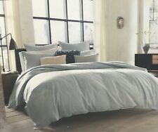 Kenneth Cole Reaction Mineral King Duvet Cover Shams Stone Wash Linen Blend New