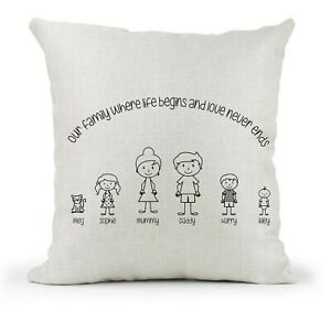 Personalised Cream Cushion Family Stick people Where life begins Love never ends