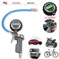 Tire Pressure Gauge Digital Inflator Air Chuck Hose Vehicle Motorcycle Parts New