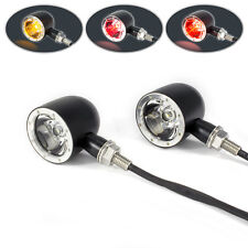 Motorbike Stop Tail Lights & Indicators Black with Polished Bezel Integrated LED