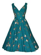Vintage 40's 50's Style Teal Bird Full Circle Flared Empire Line Tea Dress BNWT