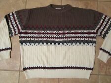 Mens Rob Winter  Nordic Fair Isle Sweater Crew Neck Acrylic Size XL