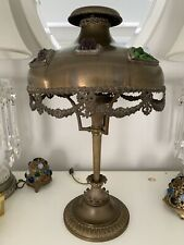 Antique Bradley & Hubbard Brass Jeweled Shade Lamp Mission Arts Crafts