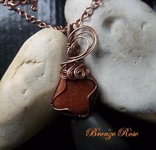 Handmade OOAK copper wire wrapped goldstone necklace